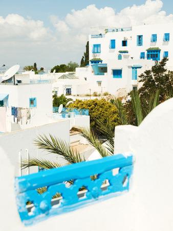 sidi bou said: Sidi Bou Said skyline of white roofs in Tunisia
