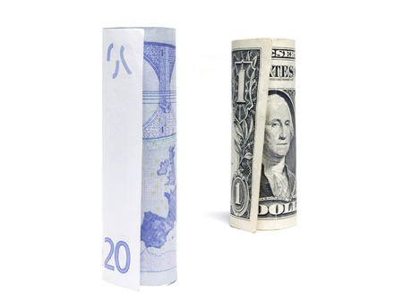 two dollar bill: Dollar and euro on white Stock Photo
