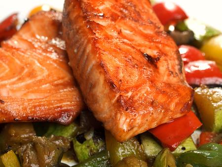 Salmon Teriyaki over vegetables Stock Photo