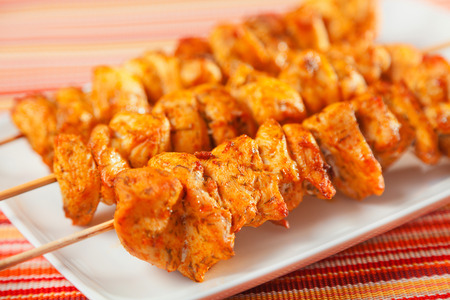 moroccan cuisine: Moroccan chicken skewer ready-to-eat, one portion