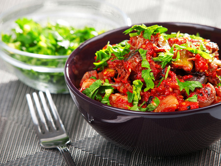 cilantro: Eggplant curry with tomatos and cilantro