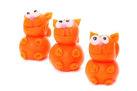 polymer: Orange cats made of polymer clay Stock Photo