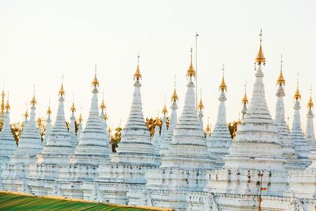 buddhist stupa: Kuthodaw Pagoda is a Buddhist stupa, located in Mandalay, Burma (Myanmar) Stock Photo