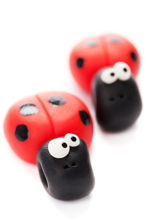 Ladybirds made of polymer clay