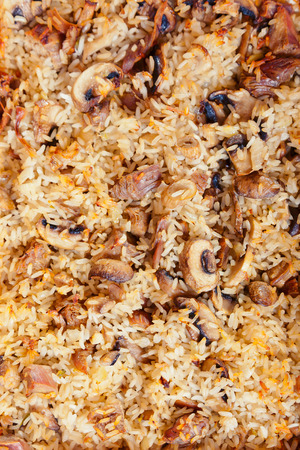 vegeterian: Vegeterian casserole with rice and mushrooms