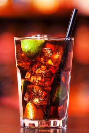 boke: Cuba libre is a famouse cuban cocktail.  Stock Photo