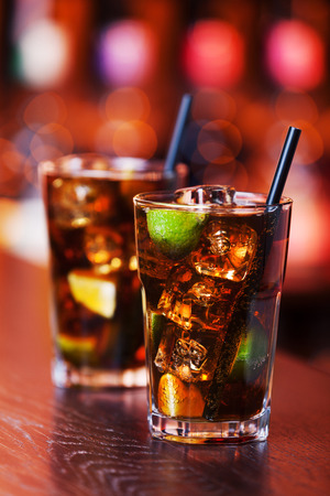 Cuba libre is a famouse cuban cocktail.  Stock Photo