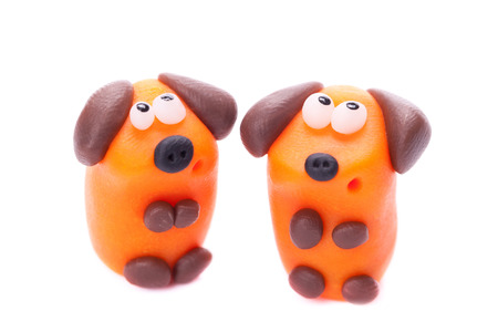 polymer: Orange dogs made of polymer clay