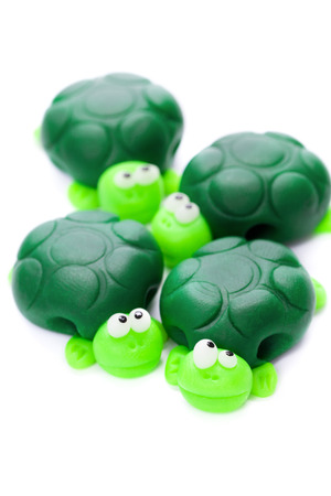 Turtles made of polymer clay Stock Photo