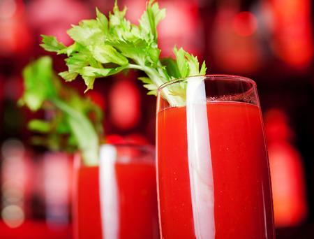 bloody mary cocktail: Bloody Mary cocktail on a bar