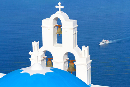 fira: Famous church in Fira, Santorini early in the morning, with wonderful view to the sea Stock Photo