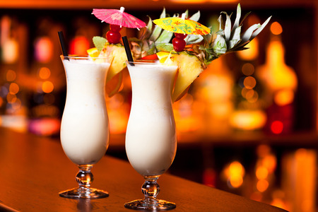 Pina Colada cocktail on a bar