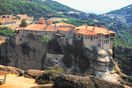 kalambaka: Meteora Clifftop Monasteries in Greece, one of the most important complexes of Eastern Orthodox monasteries. It is near small town Kalambaka.