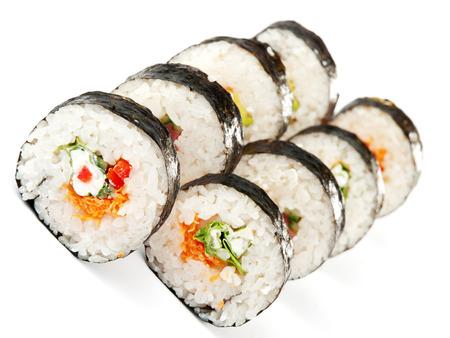 maki sushi: Maki sushi isolated on white background