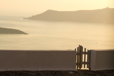 firostefani: Villa in Firostefani with a perfect view of the Volcano, Santorini Stock Photo