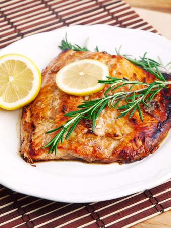 marinate: Baked salmon in lemon marinate with rosemary
