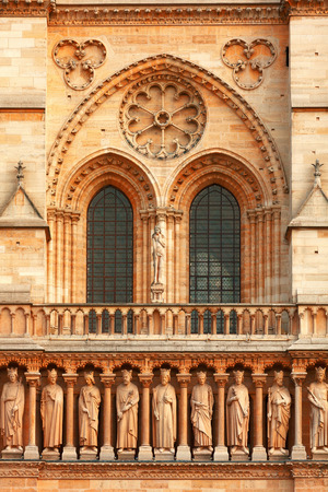 ile de la cite: Detail of the facade of Notre Dame in Ile de la Cite, Paris
