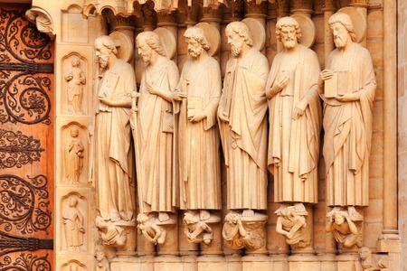 cite: Detail of the facade of Notre Dame in Ile de la Cite, Paris