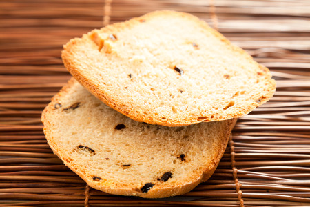 rye bread: Homemade rye bread wtih dried peppers isolated