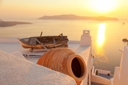firostefani: Old boat on the roof of a private villa in Firostefani, Santorini