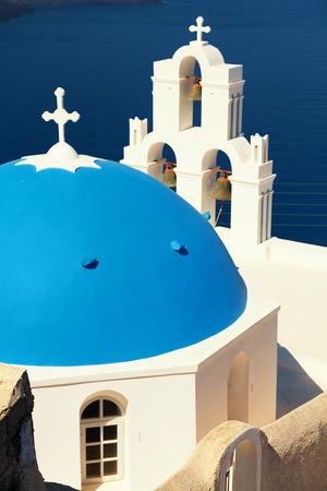 fira: Famous church in Fira, Santorini Stock Photo