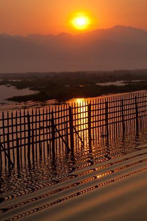inle: Sunrise at Inle Lake Stock Photo