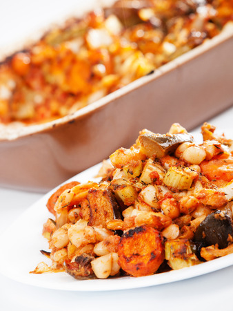 casserole: Beans with vegetables casserole Stock Photo