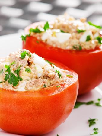stuffed fish: Stuffed tomatos with tuna fish Stock Photo