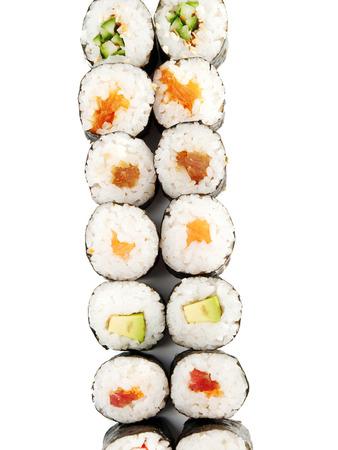 maki sushi: Maki sushi isolated on white