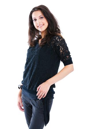 waistup: Mujer joven cerca aislados en blanco
