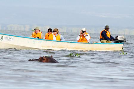 lake naivasha: Naivasha, Kenya - February 12, 2012 : Tourists in boat with lifejackets photographing one hippopotamus very close to their boat during a short journey on Lake Naivasha Editorial