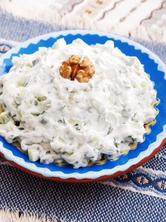 greek cuisine: Tzatziki is appetizer from the Greek cuisine made of strained yogurt with cucumbers, garlic and fresh green herbs Stock Photo