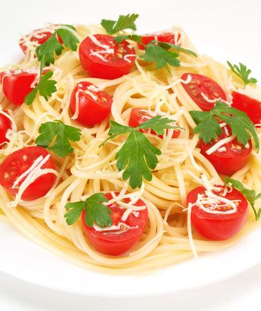 fullframe: Spaghetti with cherry tomatos Stock Photo