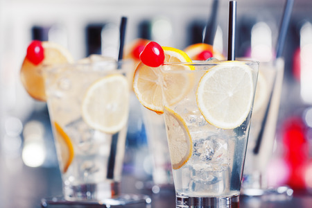 collins: The Tom Collins cocktails on a bar