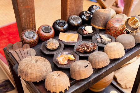 lacquerware: Yun-de is lacquerware in Myanmar Stock Photo