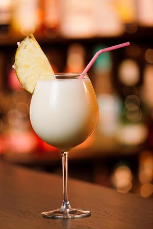 colada: Pina Colada cocktail on a bar