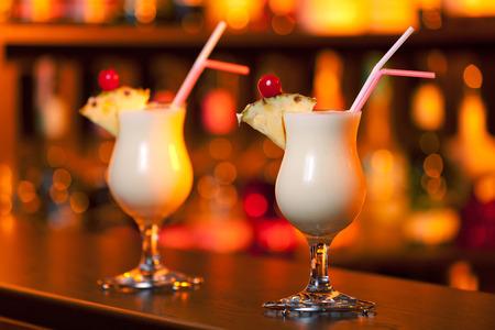 colada: Pina Colada cocktails on a bar
