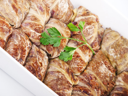 fullframe: Stuffed cabbage rolls with meat and rice