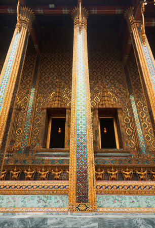 in wat phra kaew: Wat Phra Kaew is also known as Temple of the Emerald Buddha which is the most sacred Buddhist temple in Thailand Stock Photo