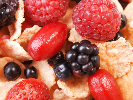 fullframe: Cereal breakfast with berries Stock Photo