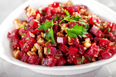 cilantro: Healthy salad from beet root, walnut and cilantro