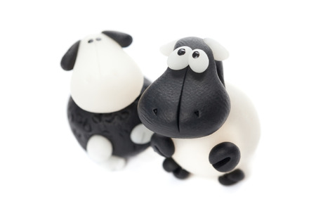 polymer: Sheeps made of polymer clay Stock Photo