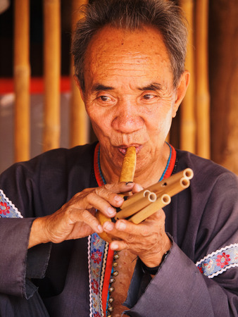 thai musical instrument: Chiang Mai, Thailand - March 07, 2011 : Portrait of 60 year old Thai man, performing on a typical musical instrument