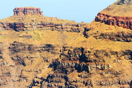 firostefani: Cliffs at Imerovigli, viewed from Firostefani, on Santorini Island