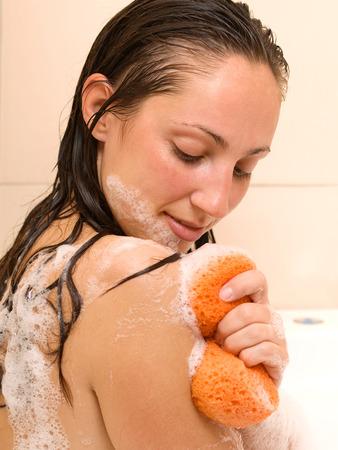 woman in bath: Woman in the bath Stock Photo