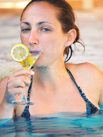 Woman at the pool photo