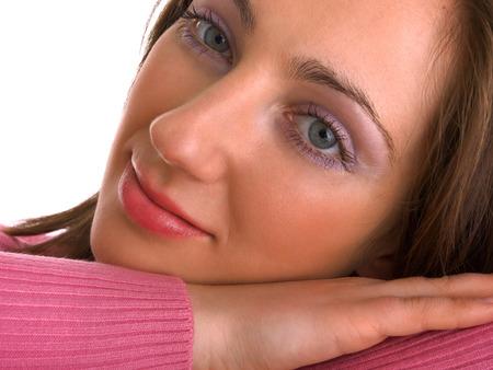 primer plano cara: Retrato de mujer joven, la cara de cerca