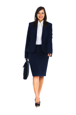Businesswoman walking isolated on white background