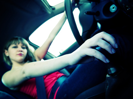 wideangle: Woman in a car