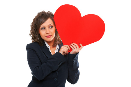 paper heart: Businesswoman holding red paper heart like a valentine card